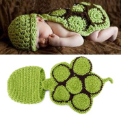 JaneDream Newborn Tortoise Crochet Knitted Hat with Shell Infant Photo Props Clothes for Boys Girls Hot Pink
