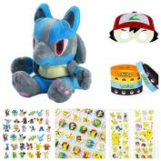 POKEMON - Christmas Lucario Plush Gift Set - Plush, Minifigures, Stickers, Wristband, Badge