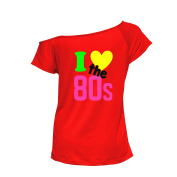 YTHH Fashion Ladies I Love The 80s T-Shirt 80's Fancy Dress up Neon Costume Party Wear Top