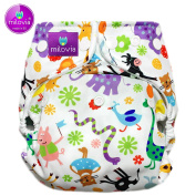 Size Milovia (Prefold) One Size (4 – 16 kg) – Happy Animals Nappy, Nappy Over Trousers, Best Quality Soft Outer