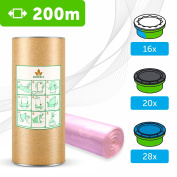 "200m - ECO liner compatible with Tommee Tippee Sangenic | Angelcare | Litter Locker II | Equivalent to 16 Sangenic ""fits all tubs"" + cardboard roll for easy refilling and storage 