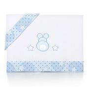 Piccolandy Pompom Stars – Linen Baby Cot blue