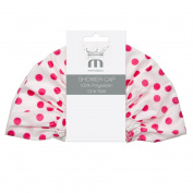 Meridiana Shower Cap, White with Pink Polka Dots