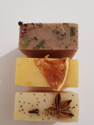 Handmade soap x 3 -Spiced butter/buttery orange and patchouli,orange and rose hip soap - The perfume People