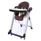 Smibie 4 in 1 Baby Highchair with Tray Portable Dining Chair Reclining Chair,Chocolate