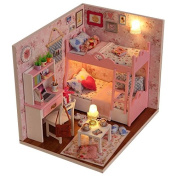 Itian DIY Wooden Cabins Miniature Dollhouse With Furniture Handmade Priness Bedroom With LED For Children And Teens