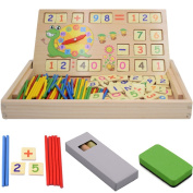 Kids Math Learning Tool Set Wooden Toy Kit with Black Board Counting Rods Math Number Blocks Arithmatics Clock, Seprovider Educational Toy for Pre-School Primary School Pupils Students