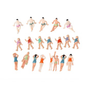 BQLZR 1:75 Multicolor ABS Unpainted Miniature Beach People Figures Little People Pack of 20