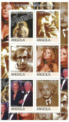Legends of the 20th Century - 6 stamps featuring icons of the century such as Steven Spielberg, Woody Allen, Barbara Streisand, Kirk Douglas and Albert Einstein /Angola / 2000 / MNH