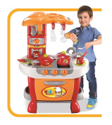 Vinsani Children Kids Red & Orange Light & Sound Kitchen Food Cooking Little Chef Pretend Role Play Set