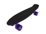 Vinsani Retro Cruiser Plastic Fun Skateboard 60cm X 15cm Available In Various Deck Colours with Transparent & Solid Wheel Colours (BLACK DECK + PURPLE TRANSPARENT WHEELS) & Free Carry Case