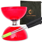 Red Cyclone Quartz II Triple Bearing Diabolo with Aluminium 'Metal' Sticks and Carry Bag - Pro Clutch Diablo Set
