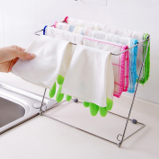 Stainless Steel Folding Towel Stand Rack 4 Layers Kitchen Washing Cloth Draining Organizer Shelf