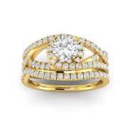 1.15ctw Diamond Bridal Set in 14k Yellow Gold