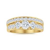 2.00ctw Diamond Three Stone Bridal Set in 14k Yellow Gold