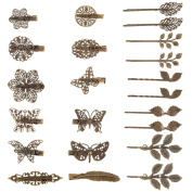22 Pieces Vintage Hair Clips Barrettes Bronze Leaf Bobby Pin Flower Butterfly Heart Hair Clip for Girls and Women, Mix Styles