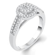 14k White Gold 1/2ct TDW Diamond Halo Unity Ring