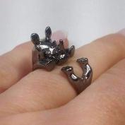 Safari Friends Baby Rhinocerous Adjustable Animal Wrap Ring Gun Metal