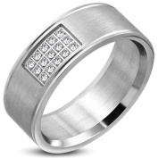 """""""Valiant"""" Cubic Zirconia Inset Stainless Steel Mens Ring 9"""