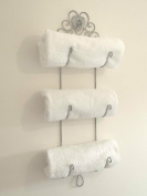 Shabby Chic French Grey Vintage Style Wall Hanging Towel Rail Holder Storage