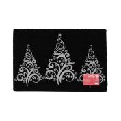 JVL Festive Christmas Sparkle Coir Latex Backed Door Mat, Three Trees, Black, 40 x 60 cm