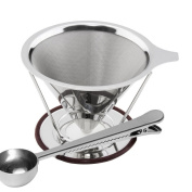 Espeedy Cone Coffee Filter Stainless Steel Reusable Pour Over Coffees Maker Dripper Funnel With Stand And Clip Spoon