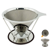 Espeedy Cone Coffee Filter With Stand Stainless Steel Double-deck Filters Ccreen Reusable Pour Over Coffees Maker Dripper Funnel