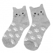 Gluckliy Women Girls Sweet Cat Socks Funny Cute Novelty Crew Socks Sport Socks with Paw Prints