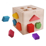 ZZM Shape Sorter Toy with 13 Holes My First Wooden Toys Shapes and Colours Matching and Sorting for Toddlers - Learning and Educational Toys for Kids