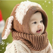 GONO Winter Baby Infant Hat Hooded Scarf Earflap Knitted Wool Cap For 1-3 Years Old