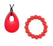CMJ RED Teardrop Chew Necklace + Bracelet Set Teething Baby Soothing Chew Jewellery UK Seller