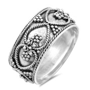 Bali Heart Rope Bead Ball Promise Ring ( Sizes 6 7 8 9 10 ) New .925 Sterling Silver Band Rings by Sac Silver