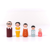 Wooden Peg Dolls Unfinished Wooden People DIY Crafts Baby Montessori Toys 5Pcs Family DIY Crafts Cake Topper Kid's Printed Decoration