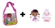 Doc Mcstuffins - Pack Shoulder bag with flap, pink 15cm + Plush toy Doc & Sheep Lambie 16cm