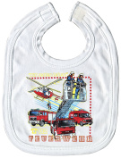 White Bib with Print Fire Engine Helicopter 12724