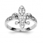 Sterling Silver CZ Fleur-de-lis Ring