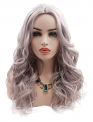 Kalyss Women's 70cm Long Wavy Deep Flip Up invisible Lace Hairline 100% Imported Premium Synthetic Sliver Grey Hair Wig