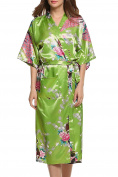 Dolamen Women's Dressing Kimono Gown, Silk Satin Peacock and Blossoms Robe Bathrobe Bridesmaid Nightwear Pyjamas, Long Style, UK 8,10,12,16,14,18