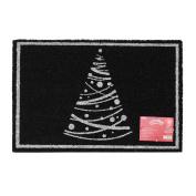 JVL Festive Christmas Sparkle Coir Latex Backed Door Mat, Single Tree, Black, 40 x 60 cm
