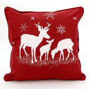Adam Linens 100% Cotton Printed Christmas Festive XMAS Design Cushion Cover Three Deer Red
