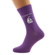 I'd Rather be Sailing with Boat Image Printed in White on Ladies PURPLE Socks Great Mothers Day Present