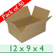 "Pack of 50 A4 Sized Removal Packaging Corrugated Cardboard Boxes - Single Wall - 12"" x 9"" x 4""/305mm x 229mm x 102mm"