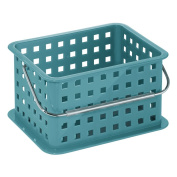 InterDesign Household Storage Basket with Handle for DVDs/Video Games and more, Teal, Small