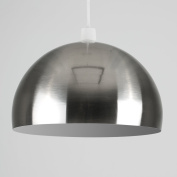 Modern Brushed Chrome Metal Dome Ceiling Pendant Light Shade