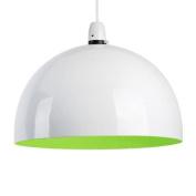 Modern Gloss White & Green Metal Dome Ceiling Pendant Light Shade