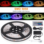 LED Light Strip, Boomile 5M RGB 5050 LED Lighting Kits with 44-Keys IR Remote Controller UK Charger UK Power Supply for Home Kitchen Lighting Indoor Decoration