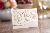 10 x Amore Mini Ivory Love Birds Pearlescent Pocket Wallet Laser Cut Wedding Invitation, RSVP, Save the Date, Lottery Ticket Holder