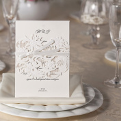 10 x Laser Cut Wedding Invitations Floral Lace Flowers With Satin Ribbon Laser Cut Wedding Invitations Invites With Inserts to Print and Quality Envelopes