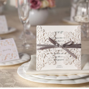 10 x Off White/Pale Cream Ribbons and Lace Blank Laser Cut Wedding Invitations Cards DIY With Blank Inserts and Envelopes Inc
