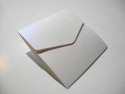Large Square 150x150mm Pocketfold Wedding Invites Pearlised Ice White with plain white envelopes